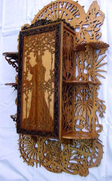 scroll saw work. art nouveau cabinet, scroll saw fretwork pattern work r