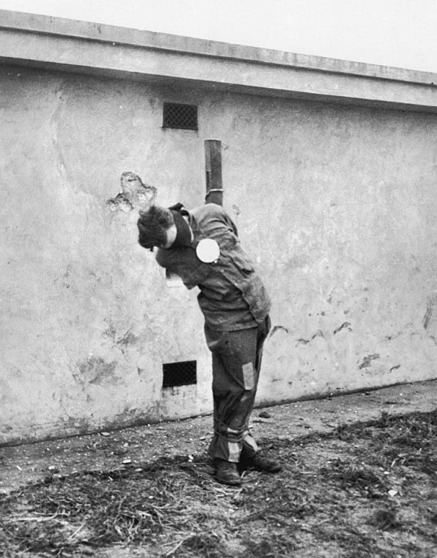 Operation Greif involved English-speaking German soldiers wearing captured Allied uniforms and vehicles as spies contrary to the Hague Convention rules of war to cause confusion in the rear of the Allied lines during the Battle of the Bulge. This is a spy blindfolded without his glasses after his execution in December 1944.