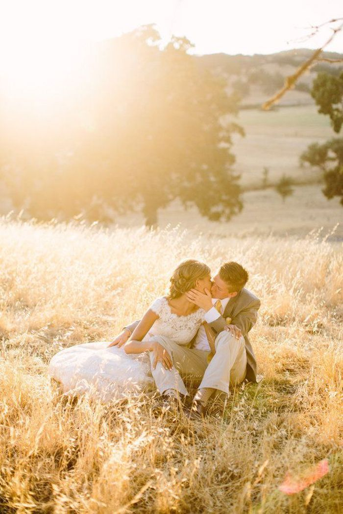 Gorgeous country wedding golden hour photo