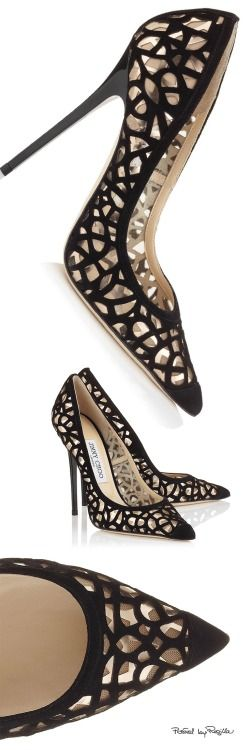 Jimmy Choo ~ Black Suede Pointed Toe Cut-out Pumps 2015
