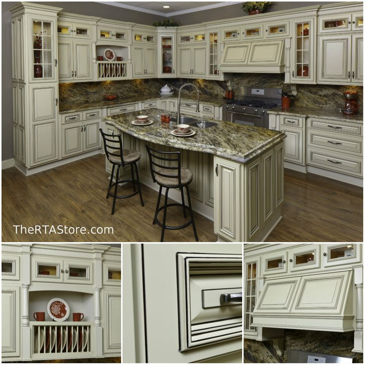 Kitchen Of The Day: Vintage White #TheRTAStore.com #KitchenOfTheday # Cabinets #