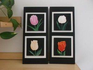 Danyarte quadri mattonelle con tulipani dipinti a mano