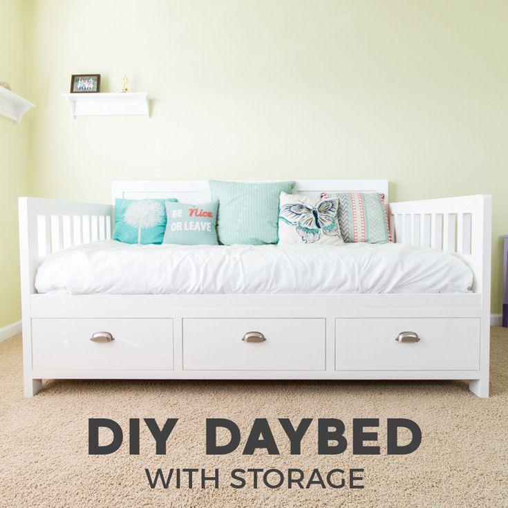 How to build a DIY Daybed with Storage Drawers. The twin size bed frame is perfect for a DIY kids bed or a guest room bed. Full video tutorial and plans!