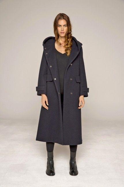 Long manteau marine avec grande capuche en laine bouillie