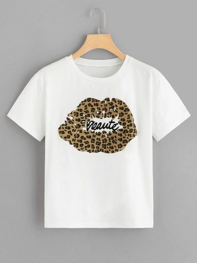 84eb3ac1c Letter And Leopard Print Lip Tee in 2019 | Colorful Tops|Two-piece ...
