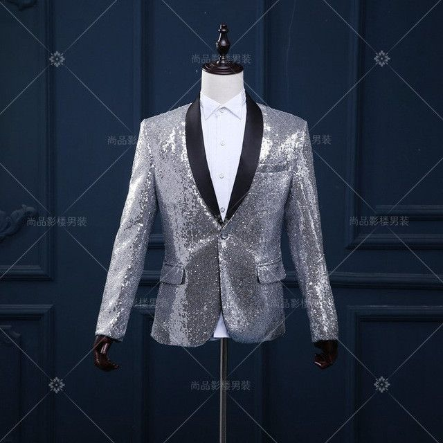 men dance costume 2016 Korean men stage suits with gold sequines Club bar dress suit jacket performance studio jaqueta masculina