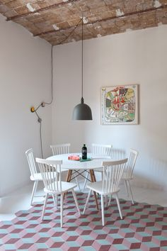 Renovated Barcelona Apartment By CaSA Features Vaulted Brick Ceilings And Colourful Floor Tiles - http://decor10blog.com/decorating-ideas/renovated-barcelona-apartment-by-casa-features-vaulted-brick-ceilings-and-colourful-floor-tiles.html