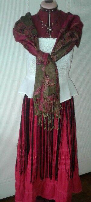 Long Boho fringed belt, gypsy skirt,  vintage peplum top. Channeling my inner Frida.