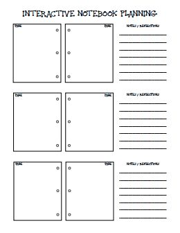 INTERACTIVE NOTEBOOK PLANNER.pdf Great to organize thoughts while lesson planning!