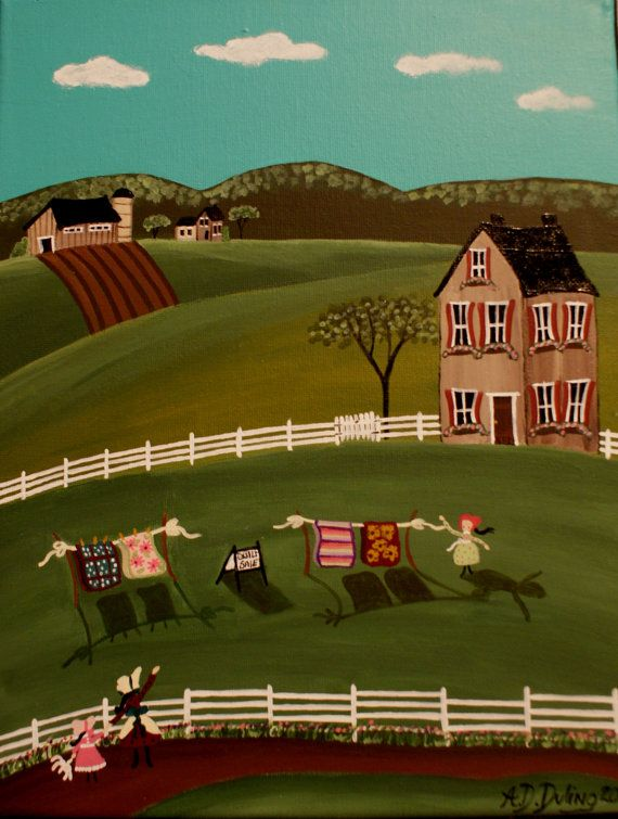 Original Folk Art Painting Quilt
