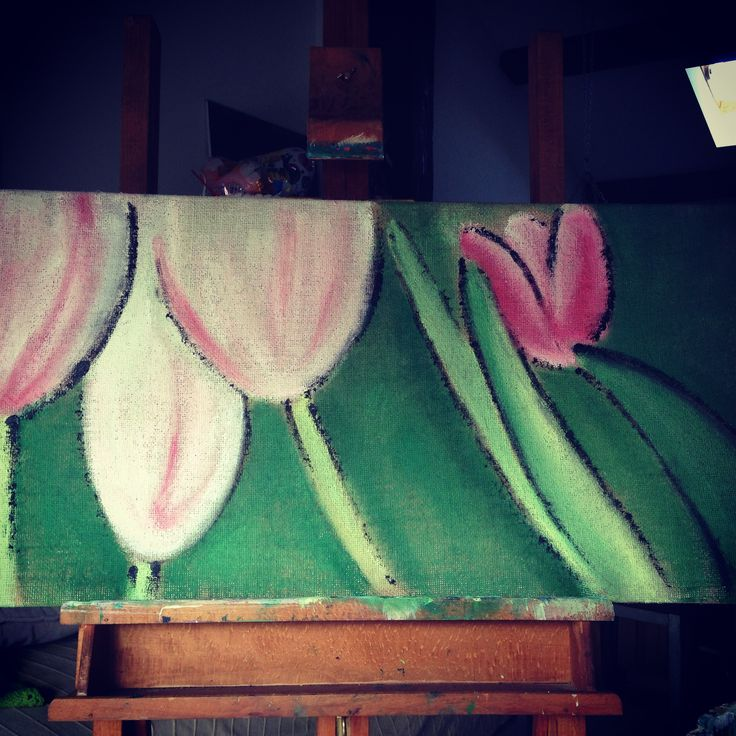 quadro tulipani su iuta