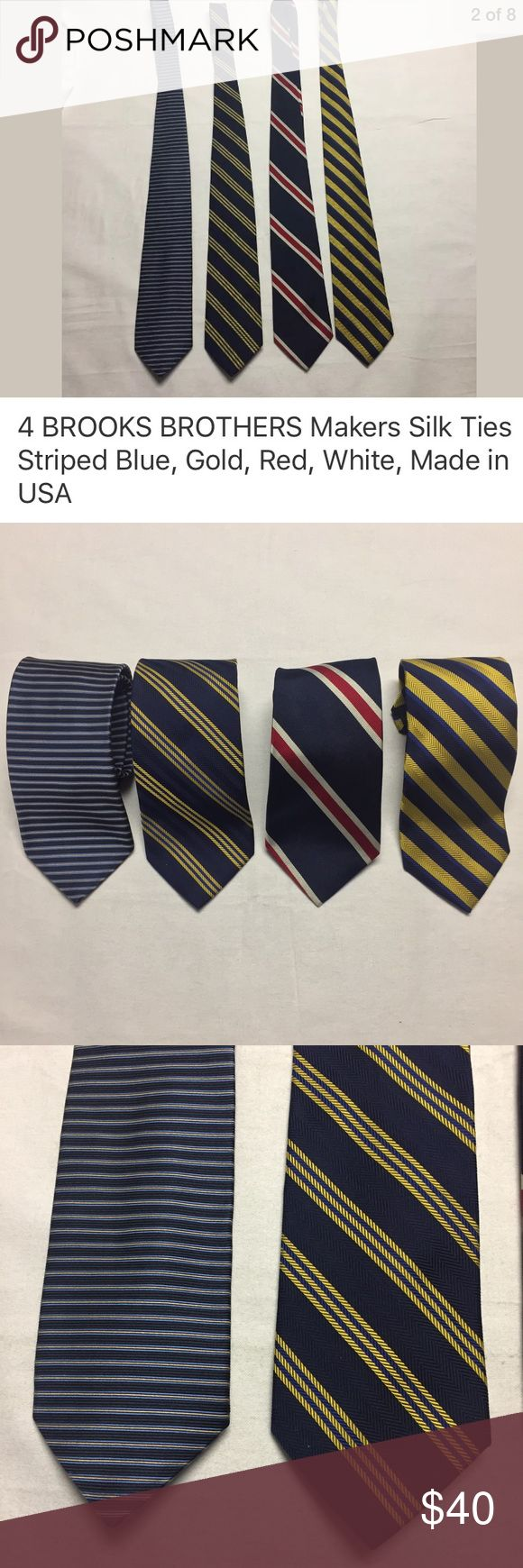 "4- BROOKS BROTHERS Makers Silk Ties Made in USA. Lot of 4- BROOKS BROTHERS Makers Silk Ties in Stripe as pictured. 3.75"" at the widest. 100% Silk. Made in the USA. Excellent preowned condition- no rips, holes, snags or stains. Brooks Brothers Accessories Ties"
