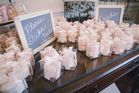 Macarons: Macarons are such pretty desserts that all you need to do is put them in a clear box, attach a cute tag or ribbon, and they're good to go!  Photo by Petruzzo Photography via Style Me Pretty