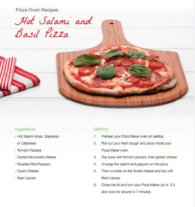 Hot Salami and basil pizza