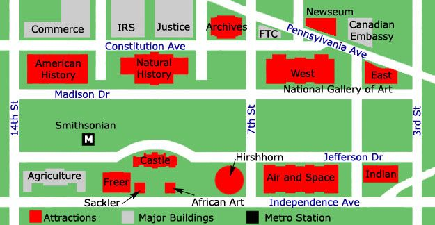 National Mall Map The Smithsonian Washington DC Travel