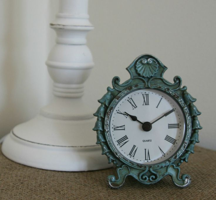 Vintage Chic Small Shabby Teal Mantel Desk Clock Ornate Boroque French Country