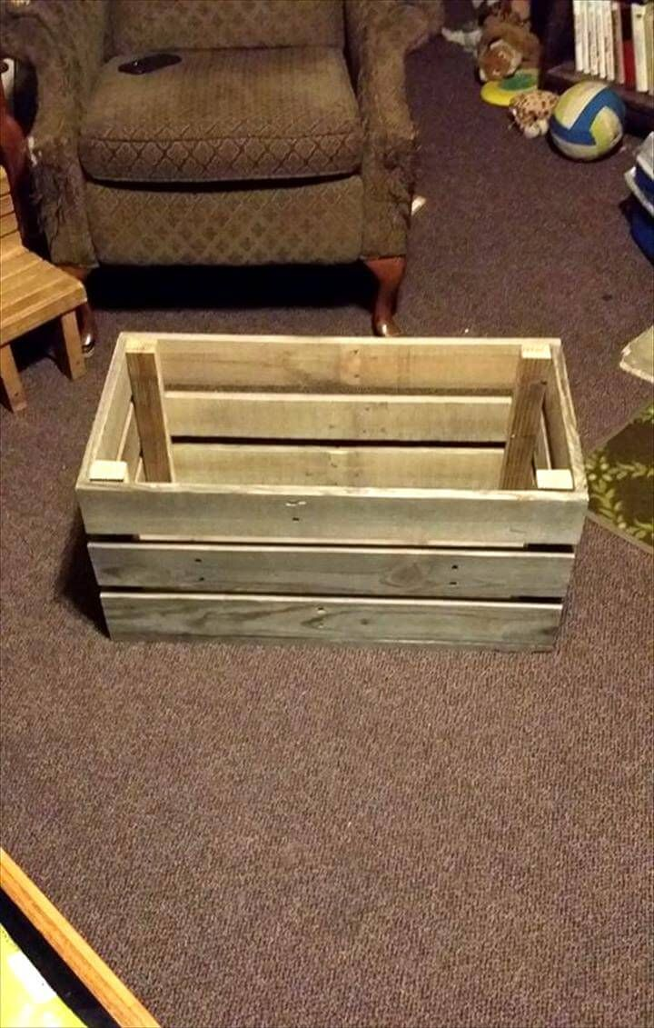 Easy Simple Wood Pallet Toy Box Pallet Toy Boxes Pallet Ideas