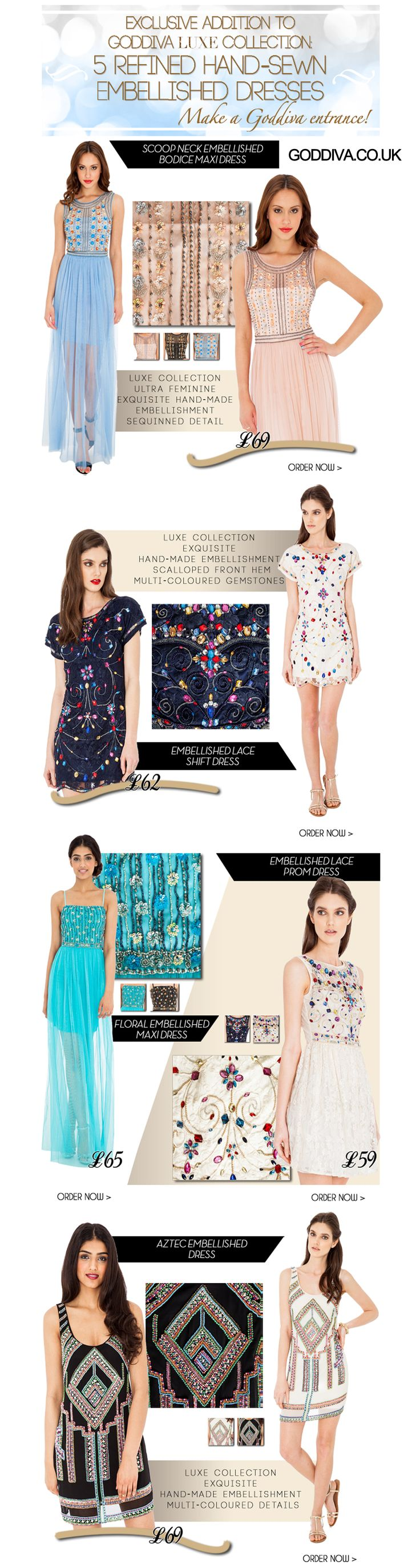Check out our new embellished dresses and also enter our amazing competition to win £100 to spend at Goddiva