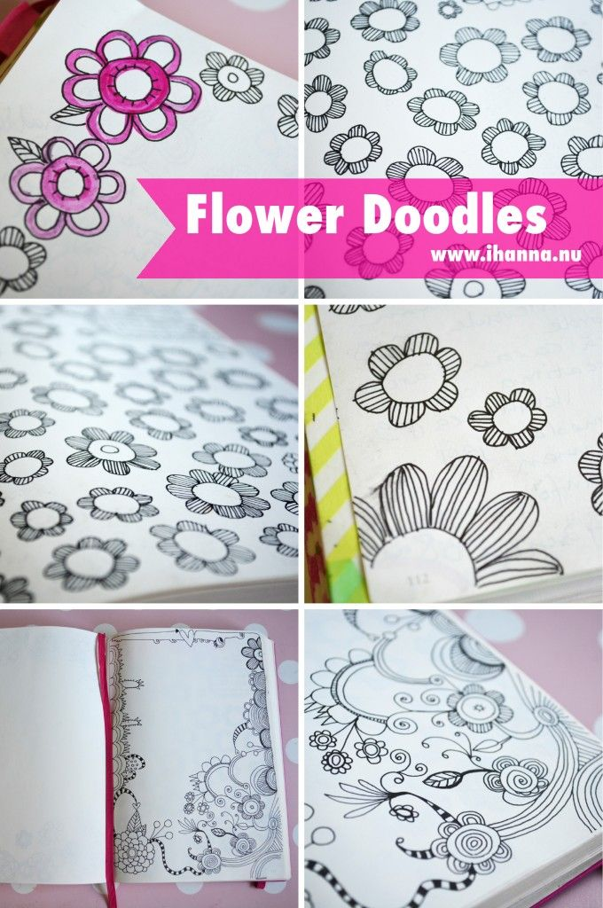 Art journal inspiration. Flower doodles in a notebook, by iHanna of www.ihanna.nu