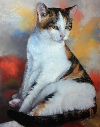 "Daily Paintworks - ""Calico Cat"" - Original Fine Art for Sale - © Pamela Hamilton"