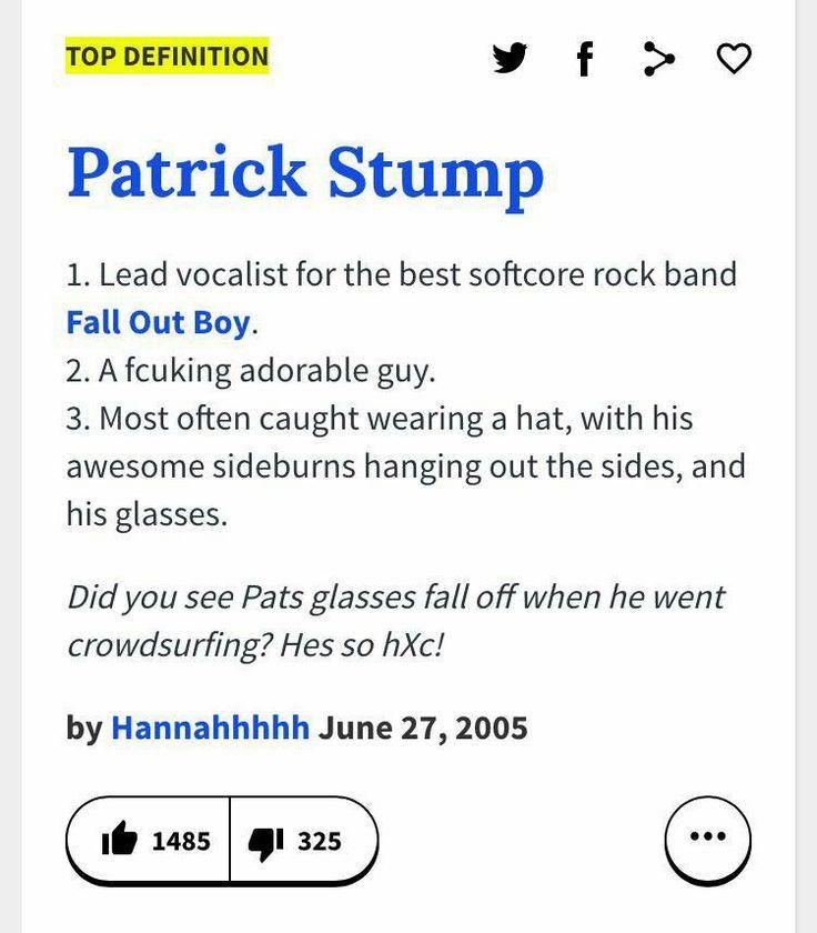 Urban dictionary definition of Patrick Stump 😐