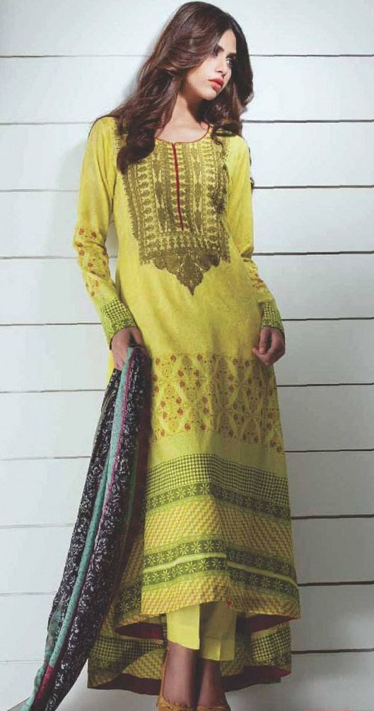 Lemon Cotton Lawn Salwar Kameez Dress $83.99 DESIGNER LAWN 2014 Pakistani Indian Dresses Online, Men Women Clothing and Shoes | PakRobe.com