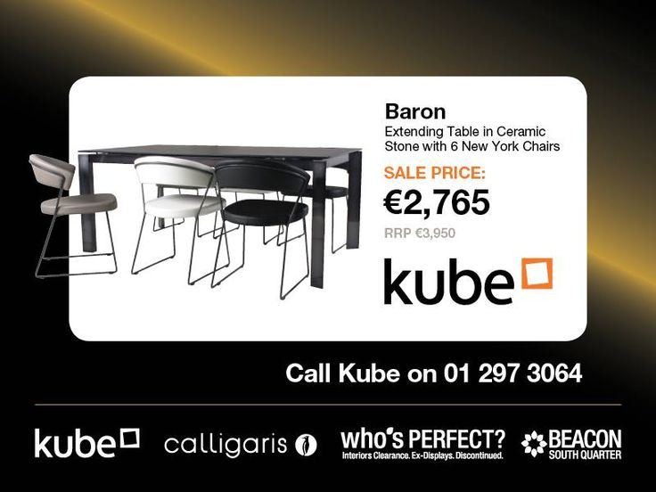 Baron Extending Table now 2765euro  http://www.kubekitchens.ie/blog/news/the-whos-perfect-clearance-sale-starts-on-saturday-22nd-august-at-10am-in-beacon-south-quarter/