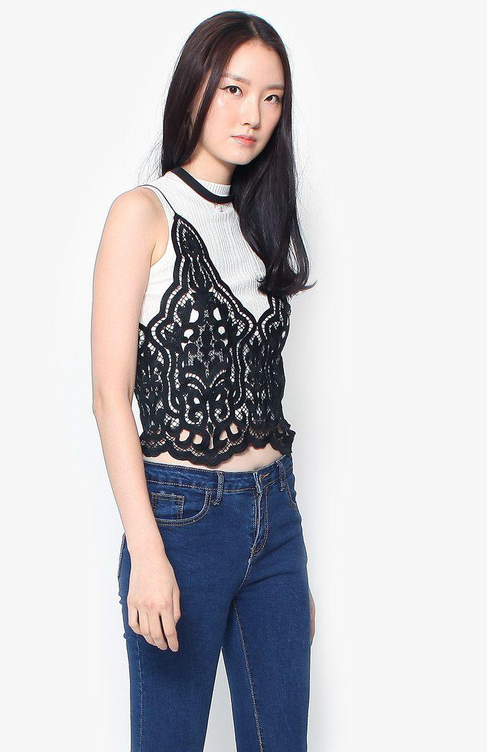 Brooklyn Crochet Top - Black