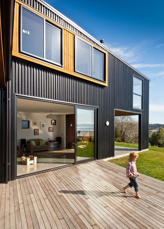 wood framed windows wit dark metal | exterior | Pinterest | Container house  design, Shipping container houses and Nelson F.C.