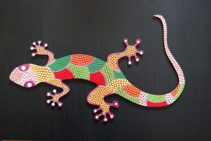 Image of Dot art painted Lizard -gecko- guaripete - tuqueque - G-07