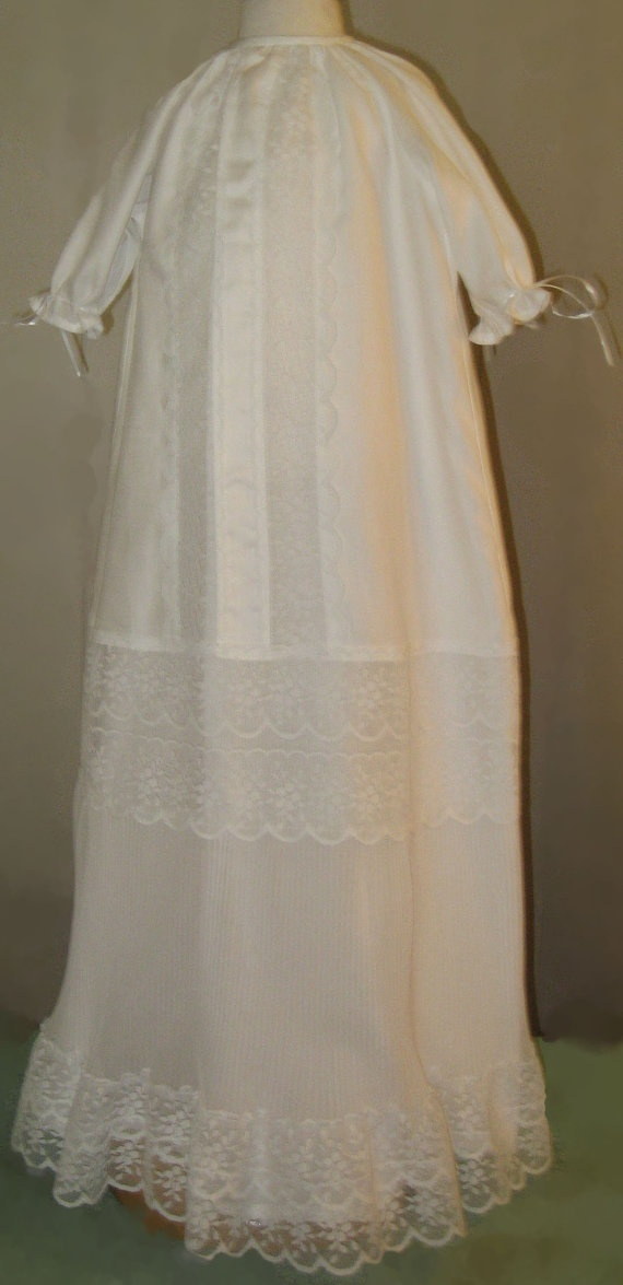 Couture christening gown baptismal gown made from vintage for Making baptism dress from wedding gown