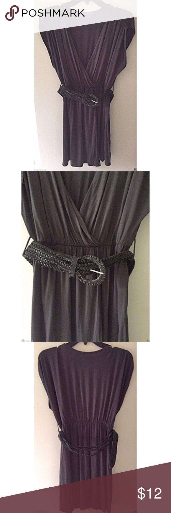 """F21 Forever 21 Gray Drape Dress W/Braid Belt Sz. S Really soft - rayon/spandex. Removable belt. Cleaned / like new condition. Only worn once for a photoshoot. Enjoy!  Length: 31""""    Underarm to underarm (front): 20"""" Forever 21 Dresses Mini"""