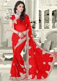 Party Wear Georgette Red Antique Work Saree
