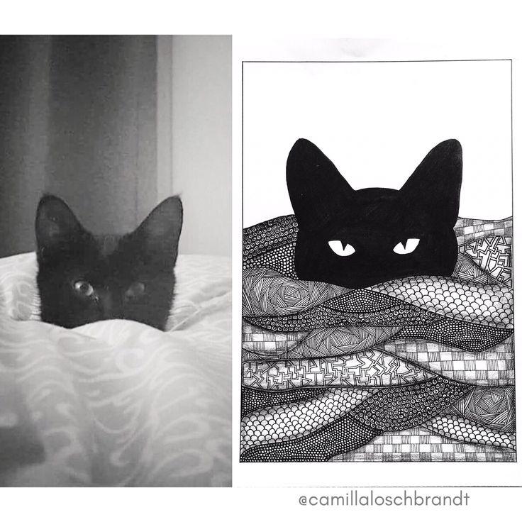 Black cat - zentangle