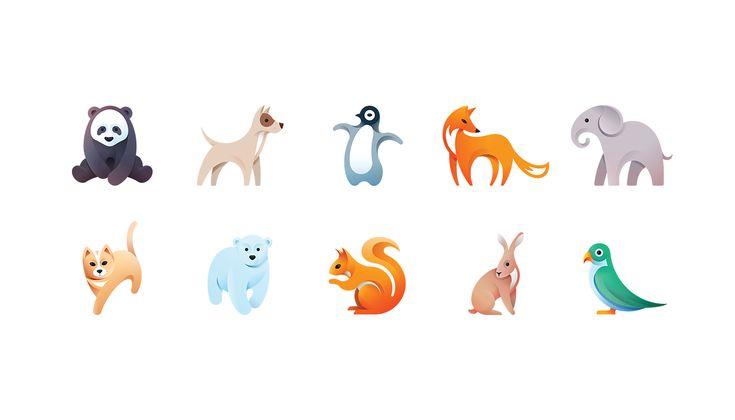 #Aninmal #Illustration #Vector #Graphic #Graphicdesign #Panda #Dog #Fox #Elephant #Cat #Bear #Squirrel #Rabbit #Bird