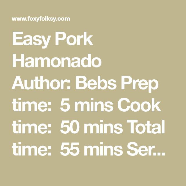 Easy Pork Hamonado Author:Bebs Prep time: 5 mins Cook time: 50 mins Total time: 55 mins Serves:2-3  Ingredients 500 g Pork belly, cut into 2 inch long and about ¾ inch thick 3 cloves garlic, crushed ½ cup soy sauce 1 cup water 1 cup pineapple juice 1 Tablespoon brown sugar 1 teaspoon pepper corn 1 teaspoon salt ½ cup pineapple chunks a dash of ground pepper Instructions Place the pork belly slices in a pot or deep pan. Mix all the rest of ingredients in a bowl until well blended and…