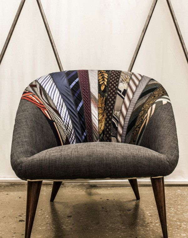 The upcycled Side by Side armchair by Lebanese brand Karassi Co. They use old ties to upholster a vintage chair, giving it a totally new, urban dimension.