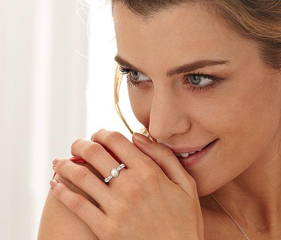 #Srebrny pierścionek z perłą #tchibo