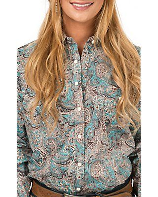 Panhandle Women's Turquoise and Brown Paisley Long Sleeve Western Shirt
