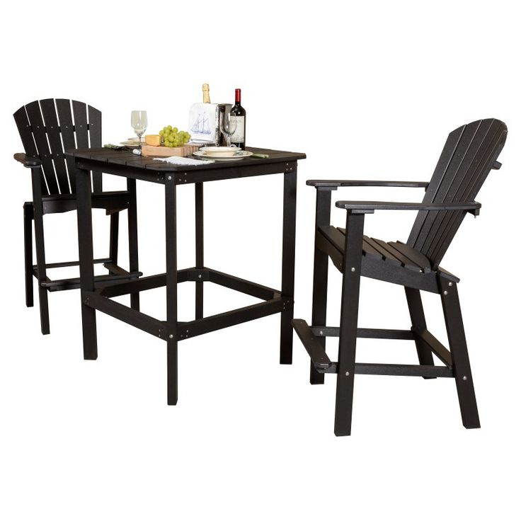 Outdoor Little Cottage Classic Recycled Plastic 3 Piece Square Bar Height  Patio Dining Set   LCC