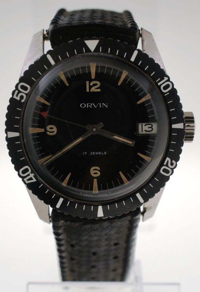 a6fd95fced65 Vintage 1950s Orvin Military Field Diver Watch Swiss Stainless Sears Roebuck