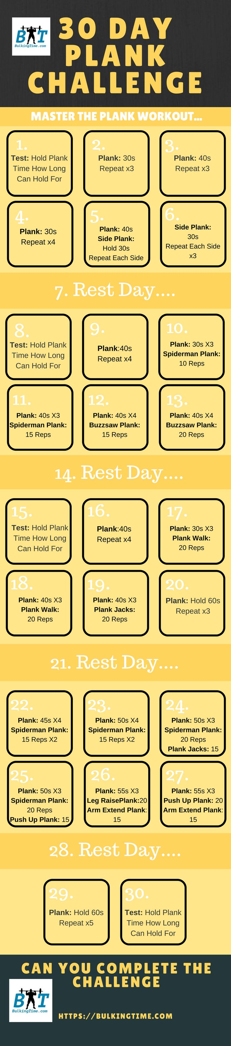 Strengthen your abs and core muscles with this intense yet effective 30 day plank challenge. Add the 15 different plank exercises into your daily workout..