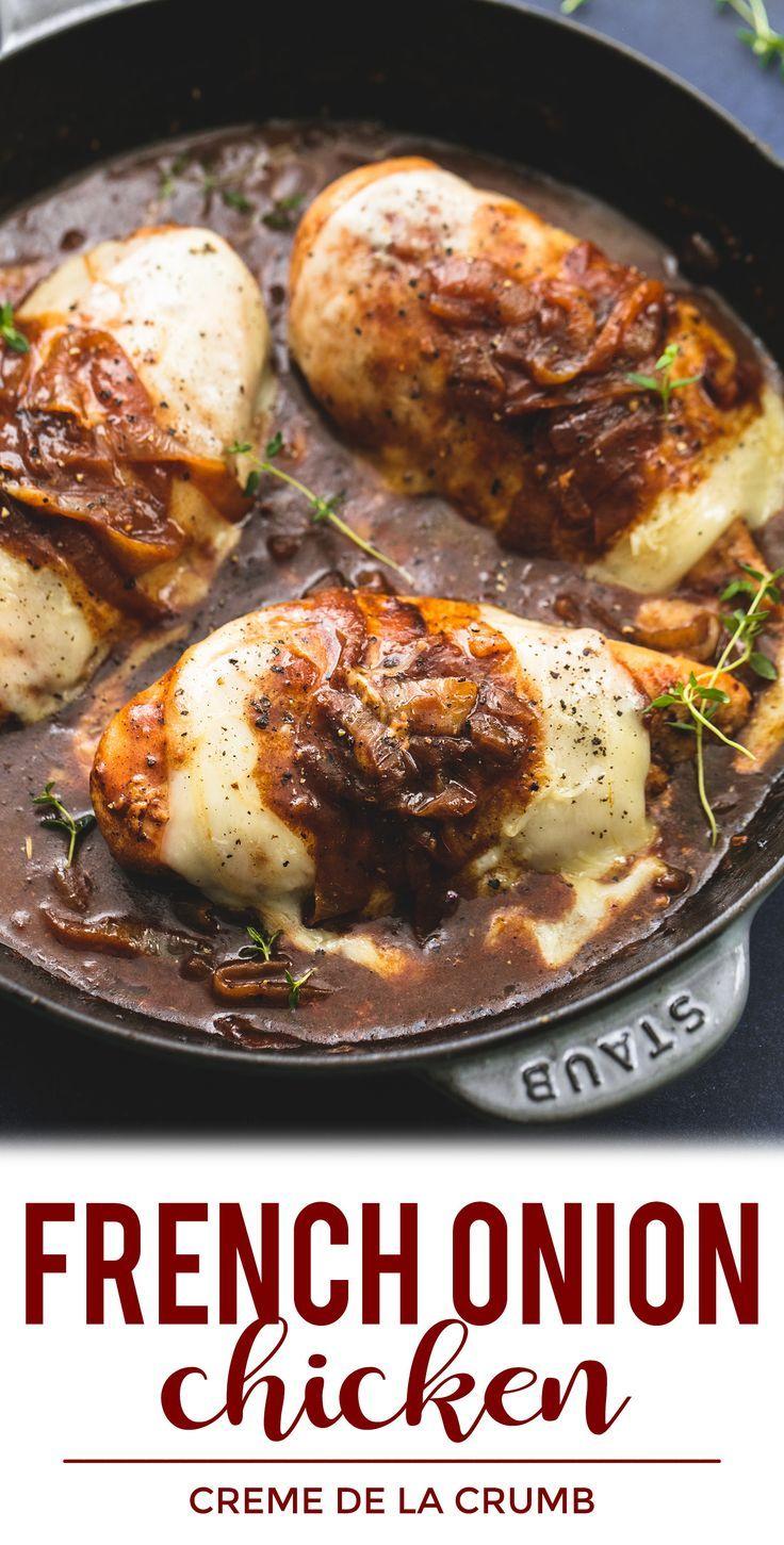 One Pan French Onion Chicken | lecremedelacrumb.com #easydinnerrecipe #easychick…