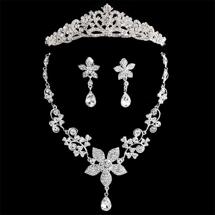 Luxus Braut Brautjungfer Schmuck-Set Funkelnden Kristall Halskette Ohrringe Big Tiara-Krone Set Frauen Zubehor Style many