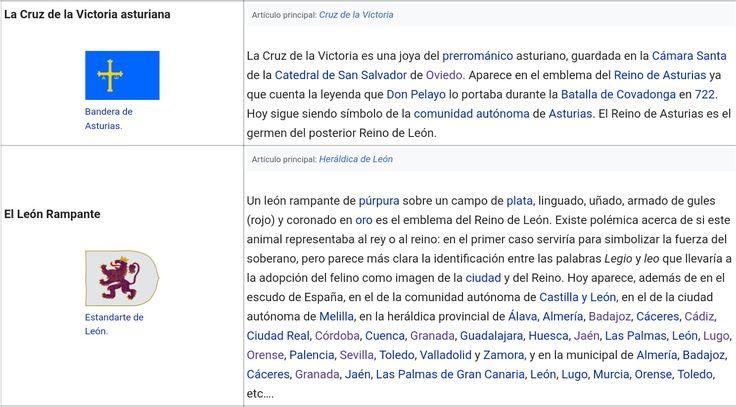 """Símbolos heráldicos de los Reinos Peninsulares Medievales: 1°.- LA CRUZ DE LA VICTORIA ASTURIANA - """"Bandera de Asturias"""" ...... 2°- EL LEÓN RAMPANTE - """"Estandarte de León""""."""