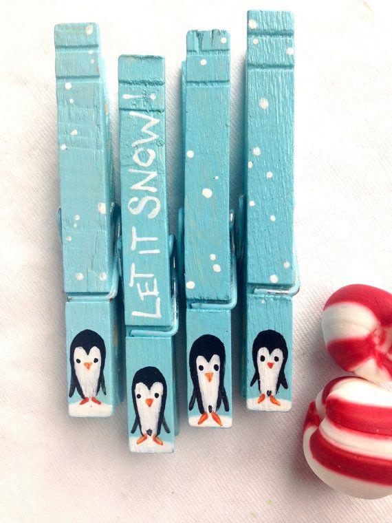 CHRISTMAS PENGUIN CLOTHESPINS let it snow blue by SugarAndPaint