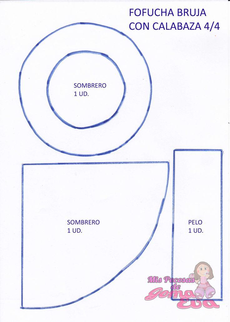 Moldes de Fofucha Bruja con Calabaza. En la entrada de mi blog: http://mispecosasdegomaeva.blogspot.com.es/2014/05/fofucha-bruja-con-calabaza-moldes.html