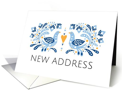 Elegant moving announcement card featuring a modern folk art style illustration of two blue birds standing opposite to each other. Between them is a heart and they are surrounded by leaves and flowers. Text: New address. Add your new address inside.