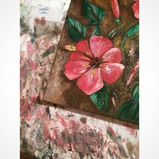 Antonio Drago. Hibiscus. Olio su tela (dettaglio) Inverno 2015