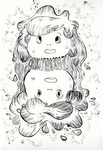 """Bloodlines """"Lorelei"""" - ink illustration - drawing by hand - two heads seperating - worping - morfing - Pictoplasma all star exhibition 2015 karina posborg ink artwork"""